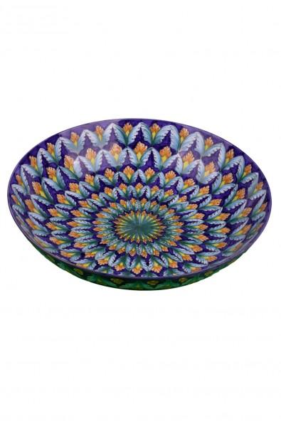 Ciotola in ceramica fine – Foglina Blu e Turchese