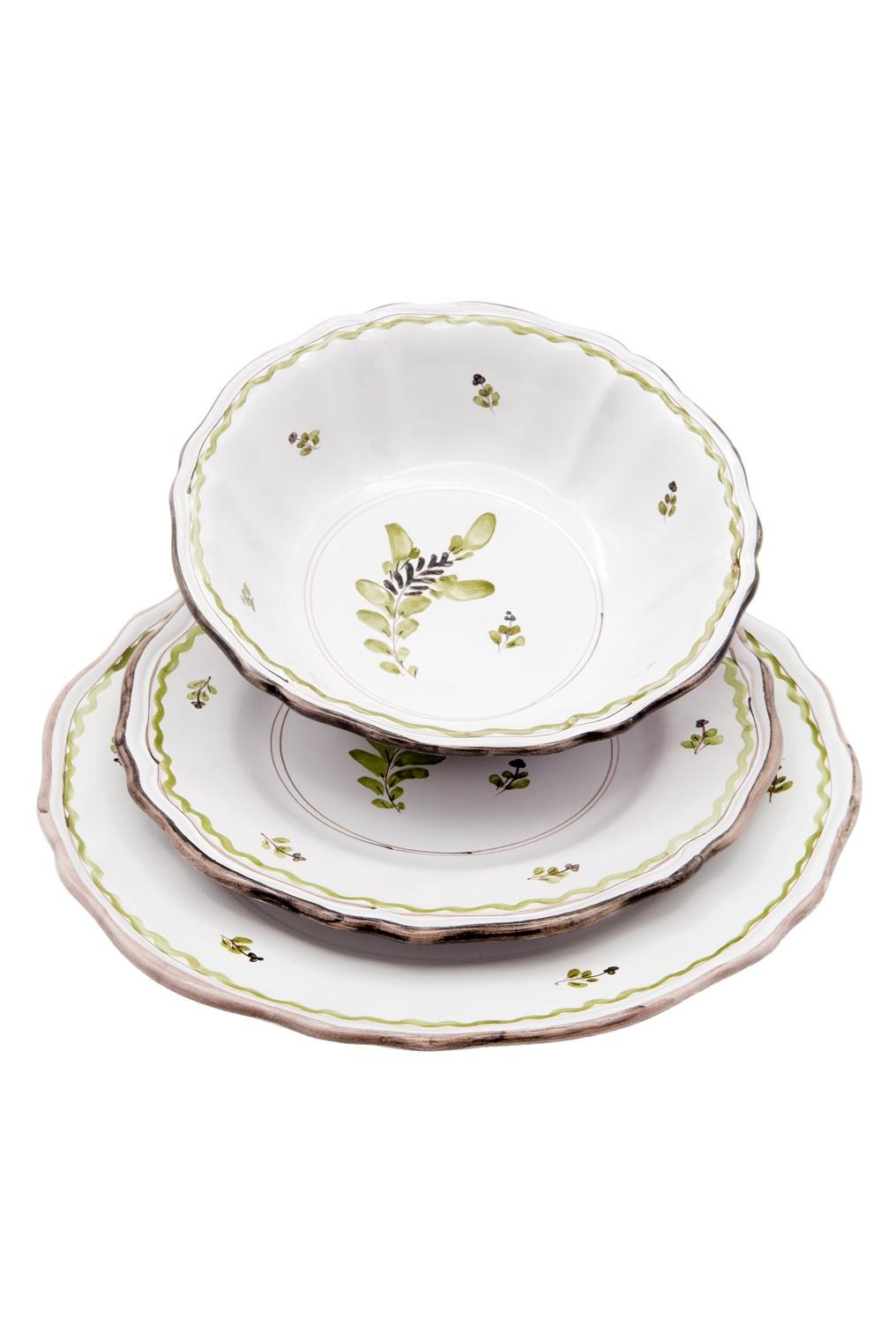 Servito piatti decorati a mano - Sbigoli Terrecotte - Firenze