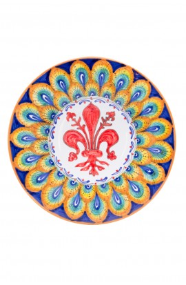 Piatto ceramica fine – Giglio e Pavone Arancio