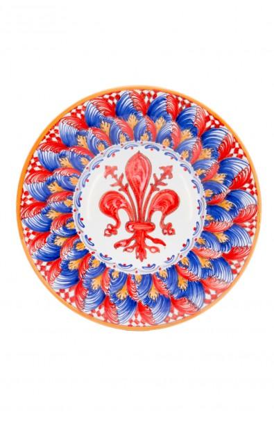 Piatto ceramica fine – Giglio e Foglina Rosso con Scacchi