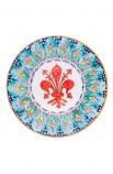 Piatto ceramica fine - Giglio e Foglina Turchese con Scacchi