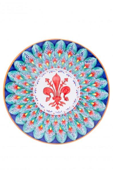 Piatto ceramica fine – Giglio e Foglina Turchese
