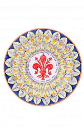 Piatto ceramica fine – Giglio e Foglina Verde
