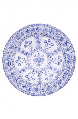 Piatto ceramica fine – Giglio e Fiori Blu