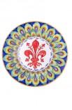 Piatto ceramica fine – Giglio e Pavone Blu
